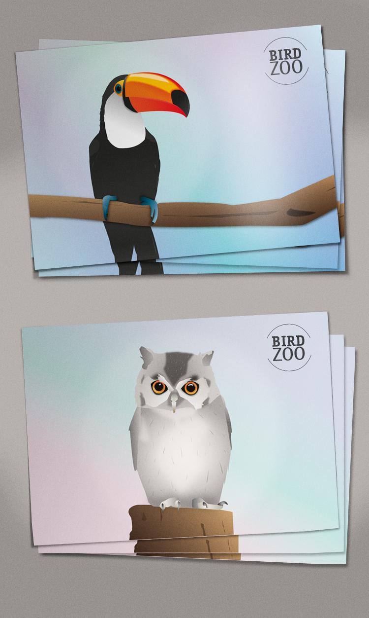 bird zoo postcard
